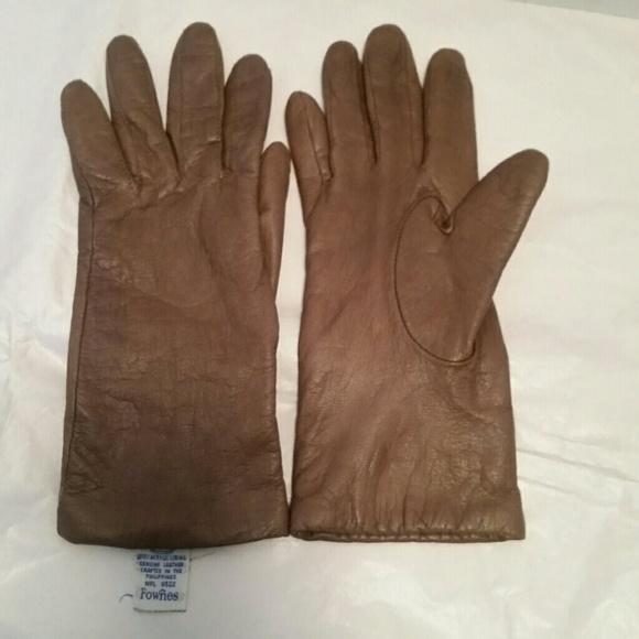 Medium Fownes Beige Angora Wool  Lined Brown Genuine Leather Gloves