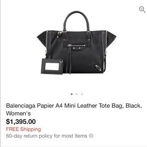 NWT balenciaga mini papier A4 Bag
