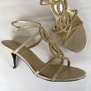 NEW M MARINELLI golden rhinestone sparkle sandal 8