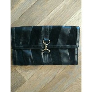 Black leather and suede clutch