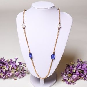 Vintage Fashion Necklace - Gold Color with Blue