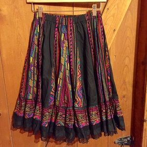 Dresses & Skirts - Colorful Tiered Skirt W/ Lace Trim