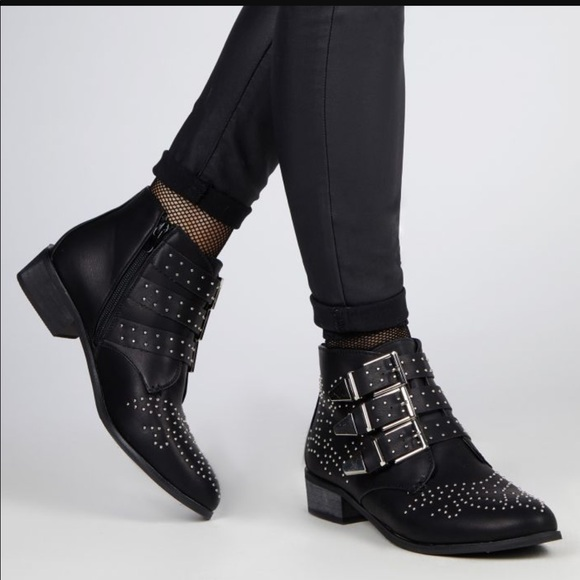 affordable price authorized site new product Bronx Leather Silver Studded Ankle Boot.