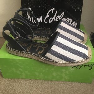 Sam Edelman Shoes - Sam Edelman navy & white espadrilles sandals