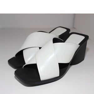 Zara Special Edition Cross Black& White Mules