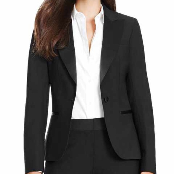 100% wool black blazer with satin lapels