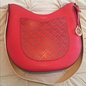Henri bendel red messenger satchel bag purse
