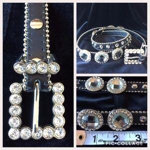 Accessories - Leather Fashion Black Belt w/ Rhinestones MED