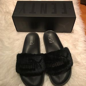 Black fenty fur slides