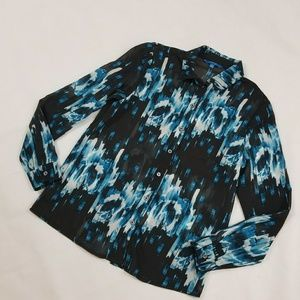 Derek Lam Semi Sheer Blue Black Blouse Sz Small