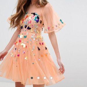 Sequin Mesh Mini Party Dress