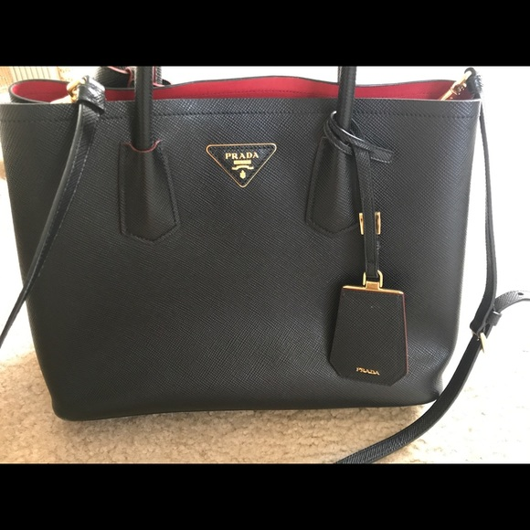 15425db56967 Prada Bags | Saffiano Cuir Double Trap Black Red Tote | Poshmark