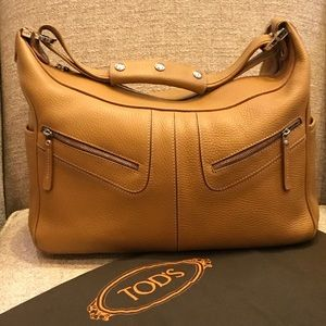 Authentic Tod's Miky Hobo Bag Tan Leather