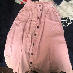 Pink button down midi skirt
