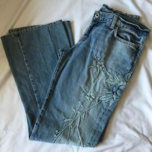 Lucky Brand button fly embroidered jeans