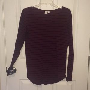 BP long sleeve maroon shirt with black stripes