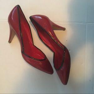 Sigerson Morrison Red Black Trimmed Heels