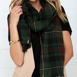nasty gal willow green plaid scarf