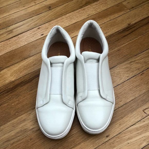 acc39d855b2 White laceless leather sneakers