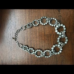 Crystal rings linked chain statement necklace