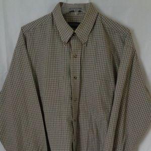 Van Heusen Tan Plaid Long Sleeve Shirt Sz 16.5  #5