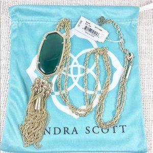 Kendra Scott Rayne cat's eye emerald necklace