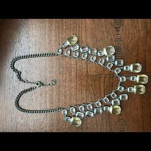 White and citrine chandelier statement necklace