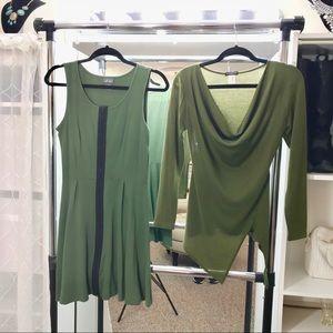 Hunter Green Dress + Sweater