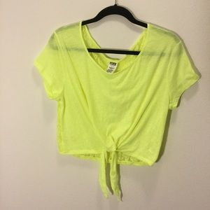 Victoria's Secret PINK lace crop top neon Small
