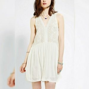 Anthropologie Babydoll Dress Embroidered XS