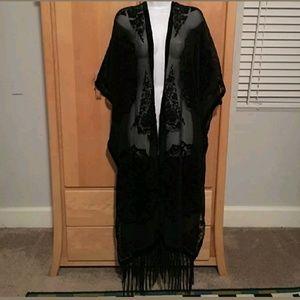 New! Torrid Velvet Long Black Kimono 4x 3x 24 26