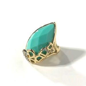 Jewelry - Turquoise Teardrop Gold Rhinestone Stretch Ring
