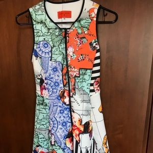 Colorful Clover Canyon graphic flare dress