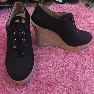 Black canvas Lace up espadrille wedge heels