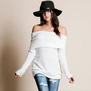 Off Shoulder Soft Sweater Top