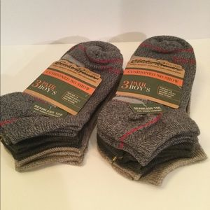 NEW Eddie Bauer boys socks 6 pair Size 7-9
