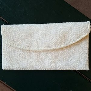 Vntg White Beaded Clutch Richere by Walborg