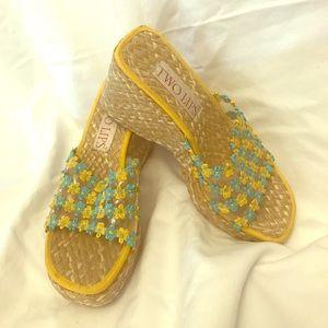 Spring wedge sandals