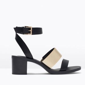 Zara Heeled Sandals Gold and Black Size 8