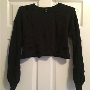 Tops - Distressed crop sweatshirt