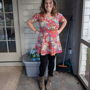 Red floral tunic