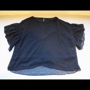 ASOS Glamorous Black Ruffle Sleeve Blouse