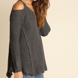 Charcoal Waffle Knit Cold Shoulder Sweater