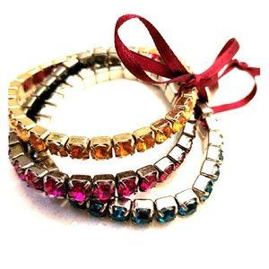 Trio- color Rhinestone Stretch Bracelet