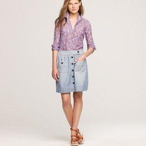 J. Crew Chambray Button Pocket Dorrie Blue Skirt