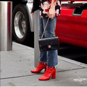 Red faux leather boots