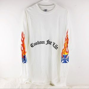 "Old English ""Custom For Life"" Flames L/S Shirt"