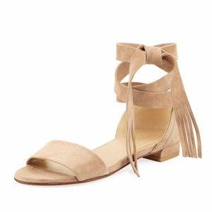 5d3f8bfb9304 Stuart Weitzman Shoes - Stuart Weitzman Corbata Suede Ankle-Wrap Sandal