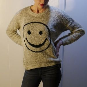 Gray smiley face high-low slouchy sweater size M