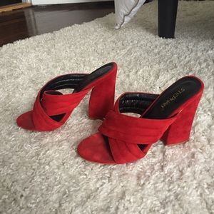 Red heeled mules